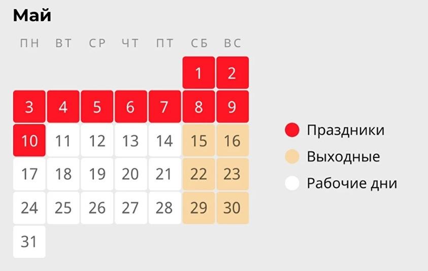Президент России подписал указ об установлении нерабочих дней в мае